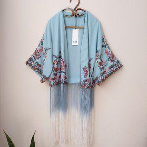 NWT Zara Ombre Fringed Kimono Embroidered
